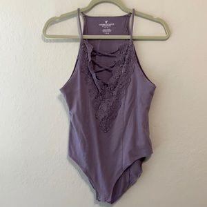 American Eagle Purple Lace Bodysuit